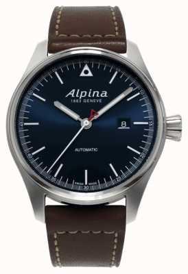 Alpina Heren startimer automatische bruine lederen band blauwe wijzerplaat AL-525N4S6