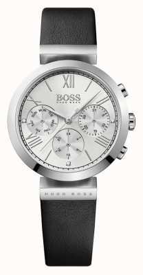 Hugo Boss Womens klassieke sport zwart lederen band zilveren wijzerplaat 1502395
