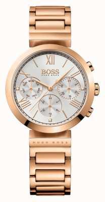 Hugo Boss Womens classic sport rose goud vergulde armband zilveren wijzerplaat 1502399
