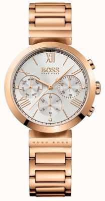 BOSS Klassieke dames rosé vergulde armband met zilveren wijzerplaat 1502399