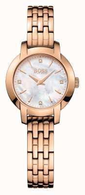 Boss Womens succes rose goud verguld parelmoer dial 1502379