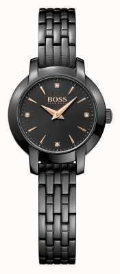 Hugo Boss Womens succes zwarte vergulde stalen armband zwarte wijzerplaat 1502387