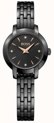 Boss Dames succes zwart vergulde stalen armband zwarte wijzerplaat 1502387