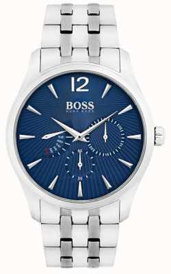 Boss Heren Commander roestvrij stalen armband blauwe wijzerplaat 1513492