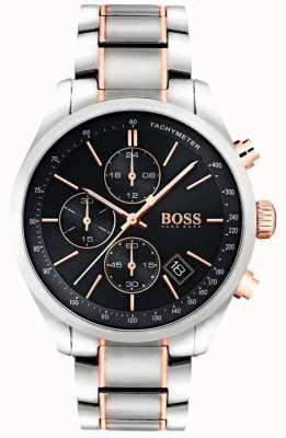 Boss Heren grand prix roestvrij stalen armband zwarte wijzerplaat 1513473