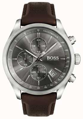 Boss Mens grand prix bruine lederen band grijze wijzerplaat 1513476