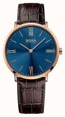 Hugo Boss Mens jackson bruine lederen band blauwe wijzerplaat 1513458