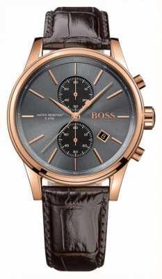 Hugo Boss Mens jet bruin lederen band grijze wijzerplaat 1513281