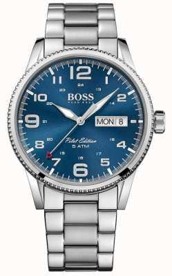 Hugo Boss Mens piloot vintage roestvrij stalen armband blauwe wijzerplaat 1513329