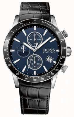 Hugo Boss Mens rafale zwart lederen band blauwe wijzerplaat 1513391