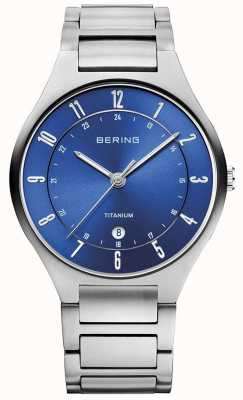 Bering Mannen titanium grijze band blauw dialwatch 11739-707