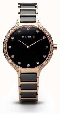 Bering Dames zwart eramische zirconia set horloge 30434-746