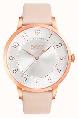 Boss Womens eclipse roze lederen horloge 1502407
