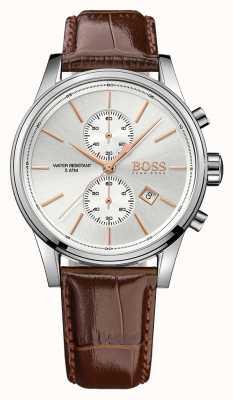 Hugo Boss Heren chrono ex-display van chromen bruin leder 1513280EX-DISPLAY