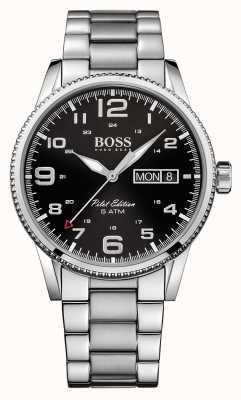 Hugo Boss Gents piloot vintage roestvrij stalen horloge 1513327
