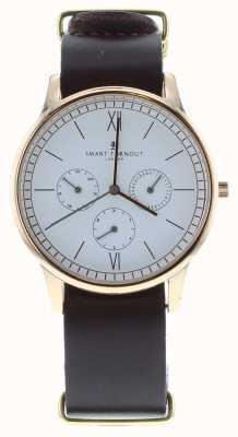 Smart Turnout Time horloge - rose goud met leer Stains rg band STK2/RO/56/W