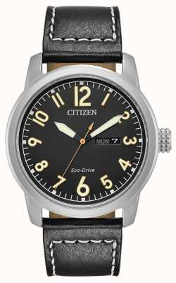 Citizen Mens eco drive zwart lederen chandler BM8471-01E