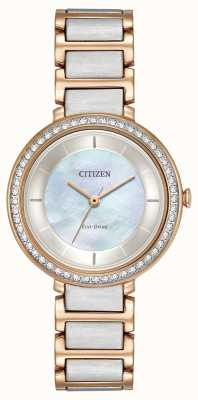 Citizen Womans Eco-Drive silhouet crystal two tone rose goud EM0483-89D