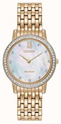 Citizen Womans Eco-Drive silhouet crystal rose goud EX1483-50D
