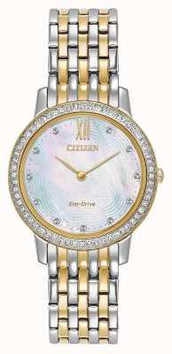 Citizen Dames eco-drive silhouet kristal | tweekleurig goud / zilver | EX1484-57D