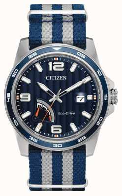 Citizen Mens eco-rijden gangreserve blauwe stof horloge AW7038-04L