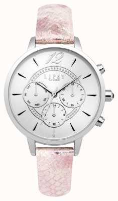 Lipsy Womans zilveren chrono roze leren riem LP506