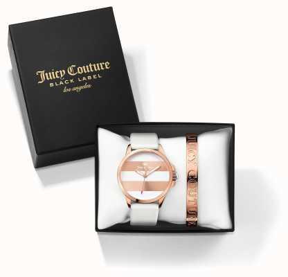 Juicy Couture Womans Fergi witte roos gouden armband horloge cadeau set 1950007