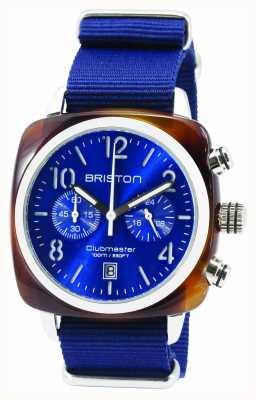 Briston Mens clubmaster klassieke acetaat chrono schildpad shell blauw 15140.SA.T.9.NNB