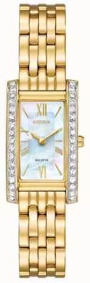 Citizen Ladies burger silhouet kristal eco-rijden goud pvd verguld EX1472-81D