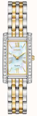 Citizen Ladies burger silhouet kristal eco-rijden two tone EX1474-85D
