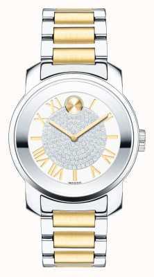 Movado Vet midsize luxe two tone zilver goud k1 kristal 3600256