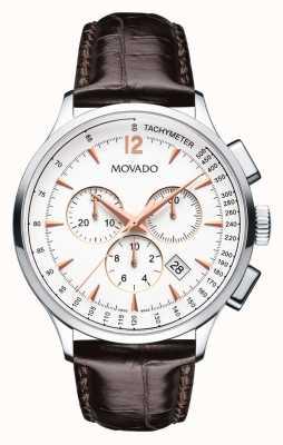 Movado Mannen circa chronograaf roestvrijstalen behuizing wit 0606576