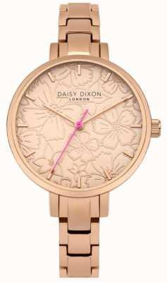 Daisy Dixon Dames leona bloemenprint wijzerplaat rose goud DD043RGM