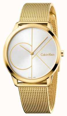 Calvin Klein Heren minimaal horloge | goudkleurige roestvrijstalen band | K3M21526