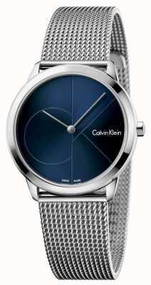 Calvin Klein Womans minimale roestvrijstalen mesh blauwe wijzerplaat K3M2212N