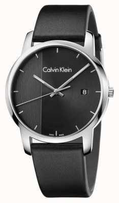 Calvin Klein Mens stad zwart lederen zwarte wijzerplaat K2G2G1C1