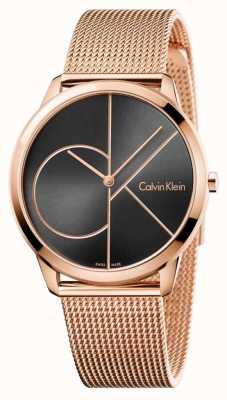 Calvin Klein Mannen minimale roos goud mesh zwarte wijzerplaat K3M21621