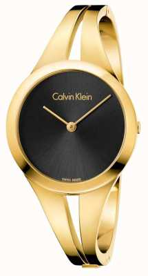 Calvin Klein Womans verslaafde gouden getinte armband zwarte wijzerplaat K7W2S511
