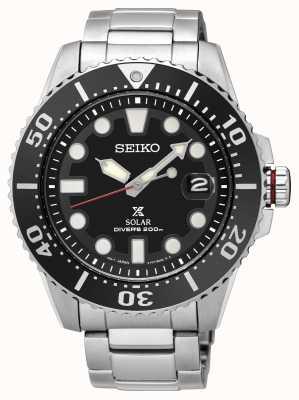 Seiko | prospex | zonne | duiker | metalen armband | zwarte wijzerplaat | SNE437P1