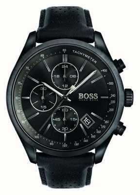Hugo Boss Mens grand prix chronograaf zwart lederen band zwarte wijzerplaat 1513474