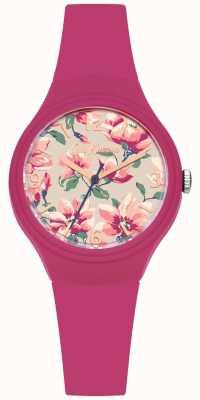 Cath Kidston Womans roze siliconenband bloemen gedrukte wijzerplaat CKL029P