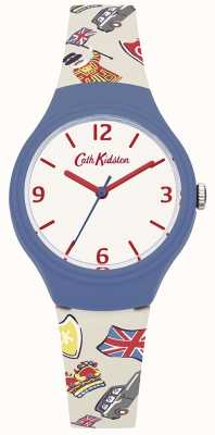 Cath Kidston Womans witte Britse grafische siliconenband CKL026CU