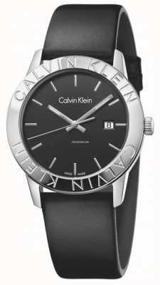 Calvin Klein Womans gestage zwart lederen zwarte wijzerplaat K7Q211C1