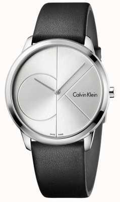 Calvin Klein Mannen minimale zwarte lederen zilveren horloge K3M211CY