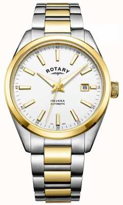 Rotary Mens havana automatisch | tweekleurige roestvrijstalen band | GB05078/02