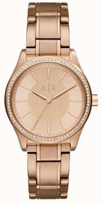 Armani Exchange Womans staal rose gouden jurk horloge AX5442