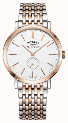 Rotary Mens windsor two tone witte wijzerplaat GB90191/01