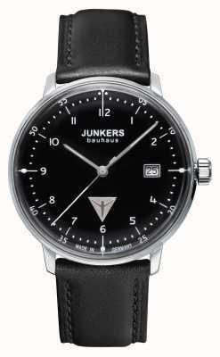 Junkers Mens bauhaus zwart lederen band zwarte wijzerplaat 6046-2