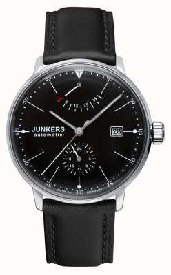 Junkers Mens bauhaus automatische zwart lederen band zwarte wijzerplaat 6060-2