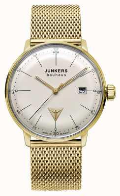 Junkers Mens bauhaus goud toon roestvrij stalen gaas beige wijzerplaat 6072M-5